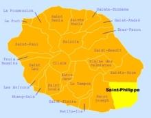 Carte de la commune de Saint-Philippe La Réunion.