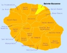 Carte de la commune de Sainte-Suzanne La Réunion