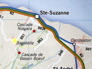 Carte de situation de Bagatelle à Sainte-Suzanne