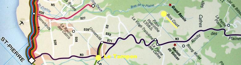 Carte plan Bois Court La Réunion