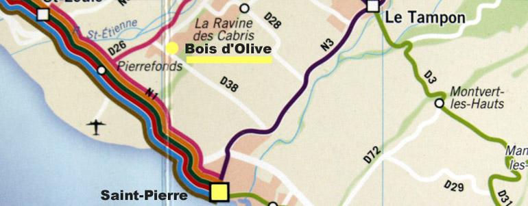 Carte Bois d'Olive La Réunion