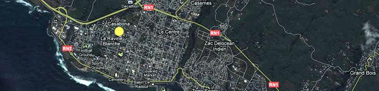 Carte plan quartier Casabona Saint-Pierre La Réunion