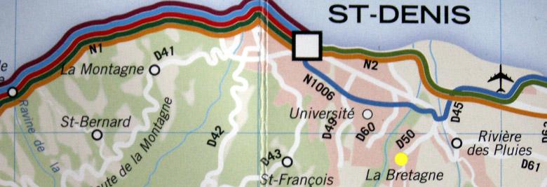 Carte de La Bretagne à Saint-Denis de La Réunion