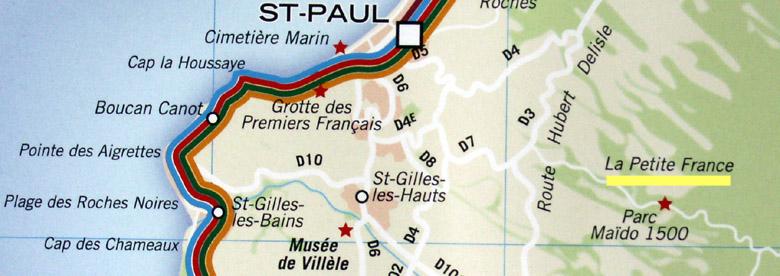 Carte La petite France commune de Saint-Paul La Réunion