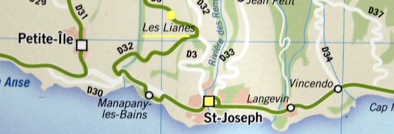Carte plan Les Lianes Saint-Joseph La Réunion