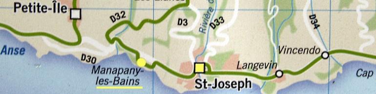 Carte plan Manapany les Bains Saint-Joseph La Réunion
