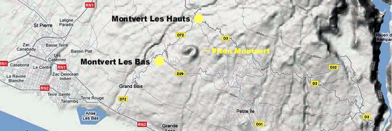 Carte Montvert les Bas et Montvert les Hauts Saint-Pierre La Réunion