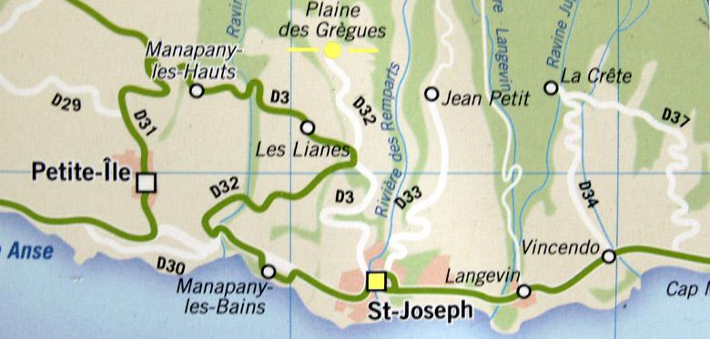 Carte plan Plaine des Grègues Saint-Joseph La Réunion