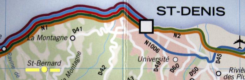Carte Saint-Bernard commune de Saint-Denis La Réunion