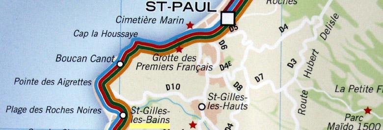 Carte Saint-Gilles commune de Saint-Paul La Réunion