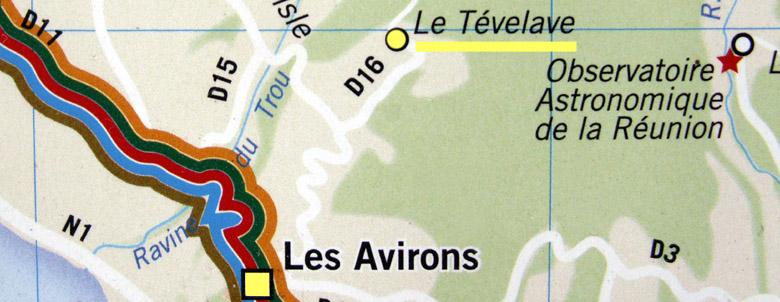 Carte Tévelave commune des Avirons La Réunion