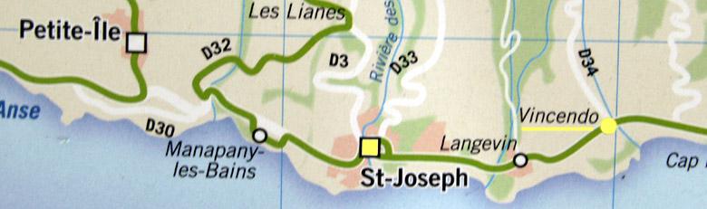 Carte plan Vincendo Saint-Joseph La Réunion