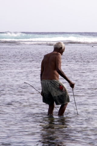 Pêcheur de zourite à Grand-Bois La Réunion.